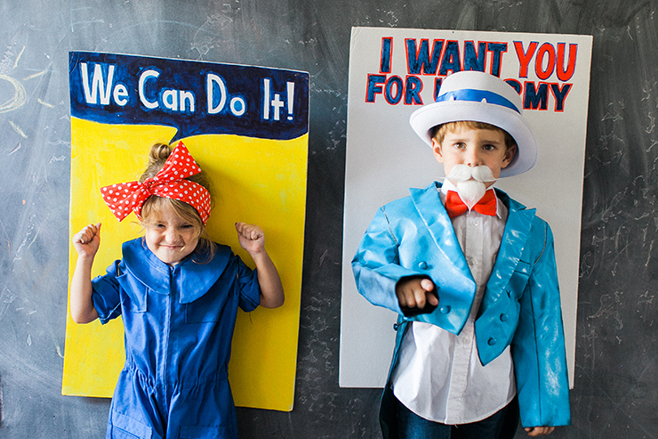 Rosie the Riveter and Uncle Sam costumes
